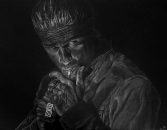 Number: 13Title: Charlie Hunnam Technique: pastel Size: 64x50 cm Year: 2017